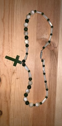 green and black beaded necklace
