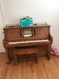 brown wooden upright piano with chair Alexandria, 22304