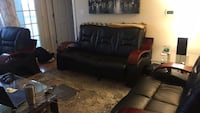 Black leather sofa set with 2 glass end tables Alexandria, 22311