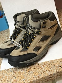 Pair of brown-and-gray hiking boots