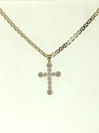 10k Yellow Gold Mariner Cross CZ Necklace Burnaby
