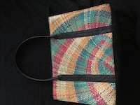 White, red, green and black tote bag