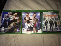 Three assorted xbox one game cases