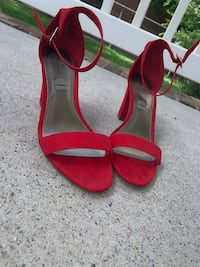 red leather open toe ankle strap heels Hampton, 23669