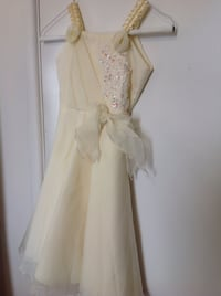 Kids off white a line dress formal flower girl with flower applique