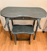 Vintage Turquoise Kidney Shaped Vanity Dressing Table