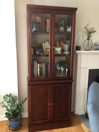 Solid Cherry Bookcase with Beveled Glass Doors