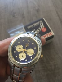 Fossil round silver/gold chronograph watch with link bracelet