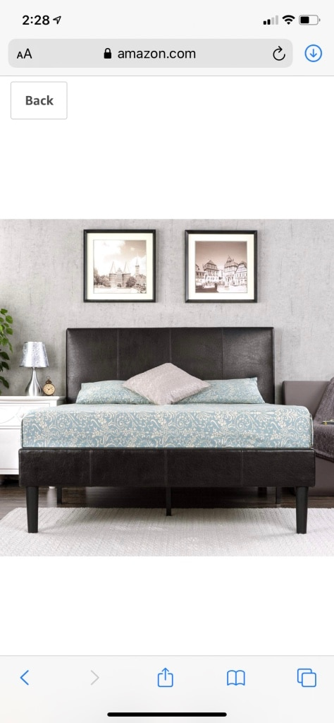 Photo *Brand New* Zinus Deluxe faux leather upholstered platform bed, brown