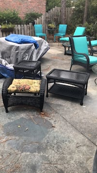 Black Outdoor Wicker Coffee Table and Ottoman Wilmington, 28409