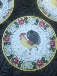 "UCAGCO Early Provincial "" Rooster and Roses"" salad plate SET OF 4 Centreville, 20121"