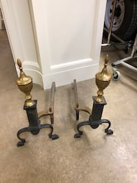 Pair Puritan Brass and Iron Andirons Pelham, 35124