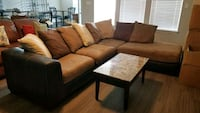 brown and black sectional couch Schertz, 78108
