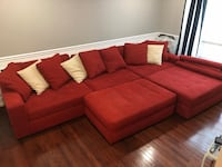red suede sectional sofa with throw pillows Clinton, 20735