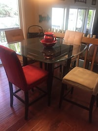 Rectangular brown wooden table with FOUR chairs dining set glass top Clark, 07066