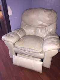 White leather sofa, love seat & chair all recline and chair also rocks