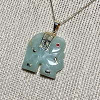Vintage Sterling Silver Jade Elephant Pendant with Sterling Box Chain Ashburn