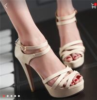 nude leather strappy heels