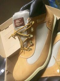 pair of brown Timberland work boots Brooklyn, 11213