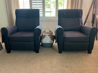 Black good condition reclinable chairs (can be sold separate for half the price) Lancaster, 93536