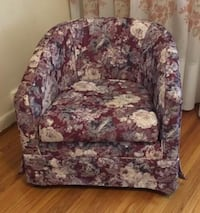 white, blue, and pink floral fabric sofa chair