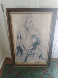 Art piece - drawing of woman in wood frame Catonsville, 21228
