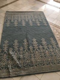 White and teal floral area rug Lodi, 95242