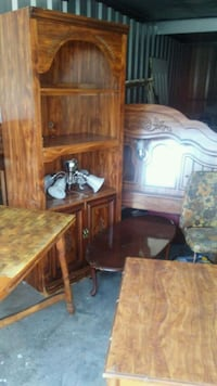 brown wooden cabinet with hutch 556 mi