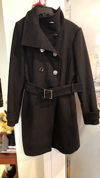 Aritzia black double breasted cashmere wool coat size L