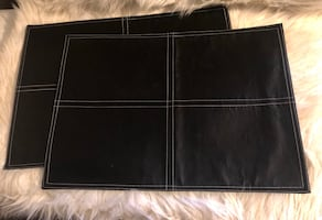 Pier 1 Imports Faux Leather Placemats Black 2 Pcs