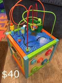blue, green, and red activity cube