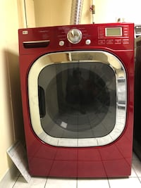 red and gray front-load washing machine