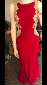 red and gold decal prom dress Haverhill, 01832