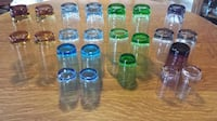 23 Vintage Amber, Blue, Tinted Blue, Green, Pink & Purple Colour Glasses For Sale! Ottawa
