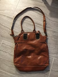 Brown faux leather crossbody bag