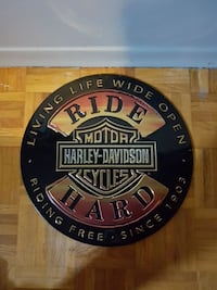"HD Ride Hard Tin sign 14""dia Port Hope, L1A 3T3"