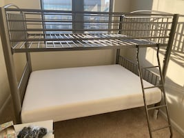 Powell Metal Full over Full Bunk Bed (one full mattress included)