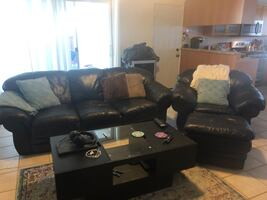 Black leather couch & chair