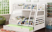 White wooden T/Full Bunk bed /choice of storage drawers or trundle bed SALE!!!! Essex