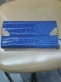 blue crocodile leather long trifold wallet