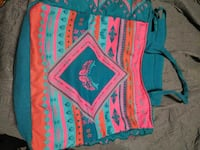 Vintage teal and pink fabric tote bag