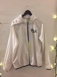 White pink by victoria's secret zip-up hooded jacket