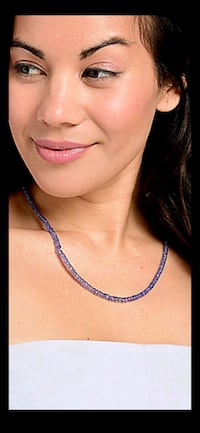 "$150 new PLATINUM PLATED TANZANITE 18"" Necklace w/2"" Extention women's Manchester, 03103"