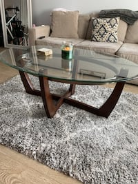 Wooden glass-top coffee table