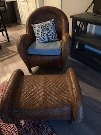 West elm wicker chair & foot rest Pittsburgh, 15205