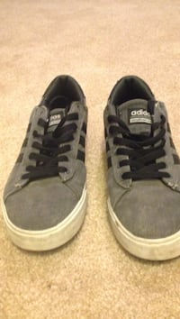 pair of gray suede Adidas low-top sneakers size 8