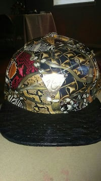 black and multicolored fitted cap