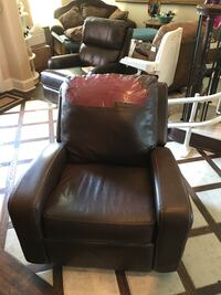 Brown leather sofa chair with ottoman Denison