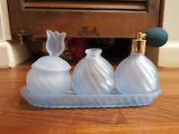 Vintage Avon Sky Blue Glass Tulip Perfume Bottles Atomizer Beauty Set