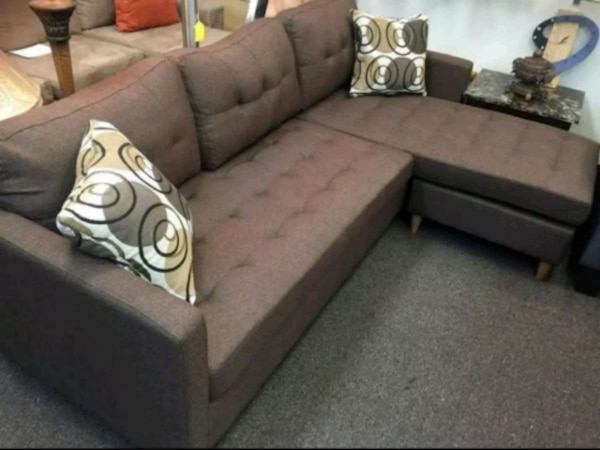 Brand New Brown Linen Sectional Sofa Couch
